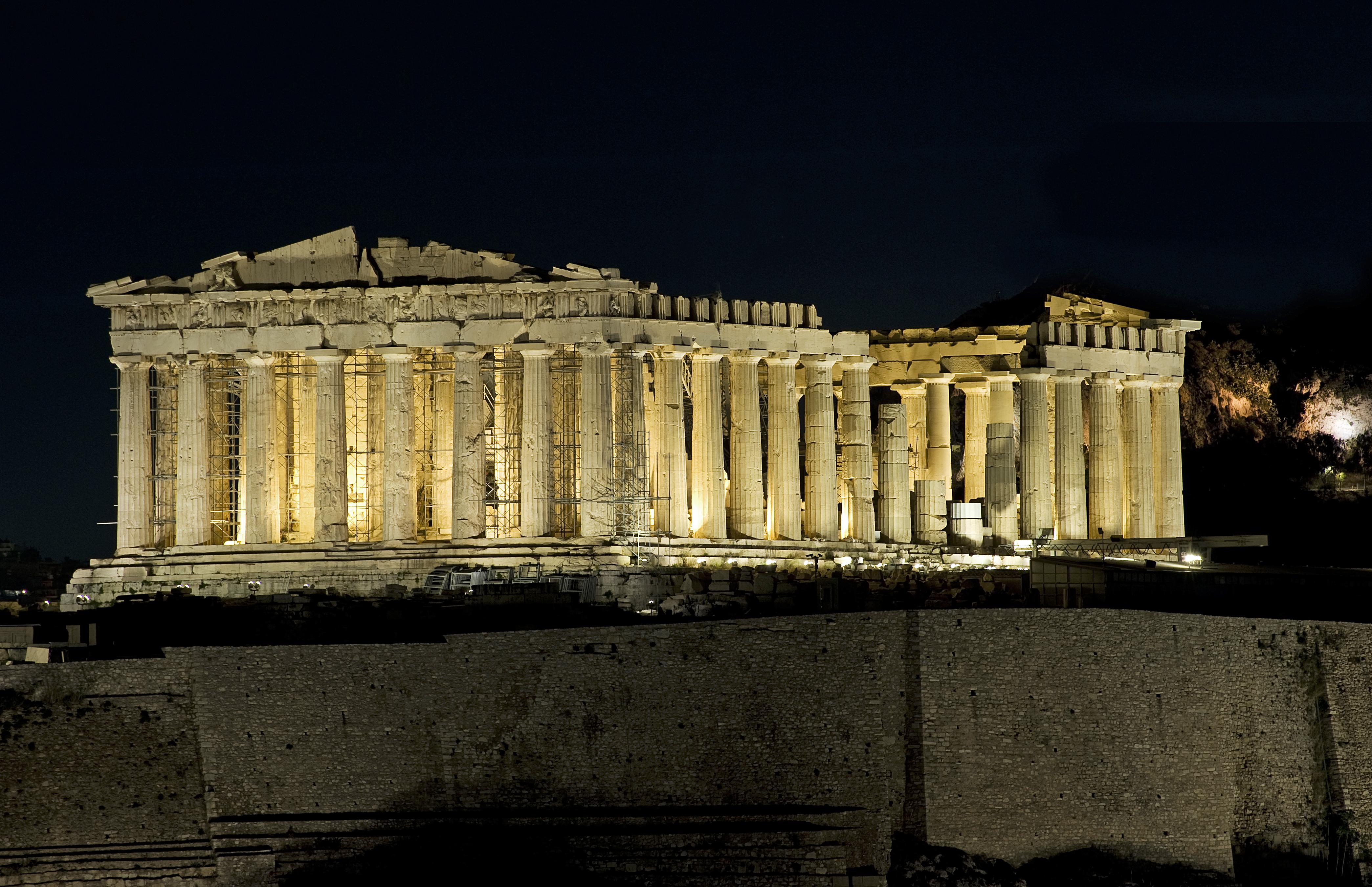 Atena, ruinele Partenonului noaptea