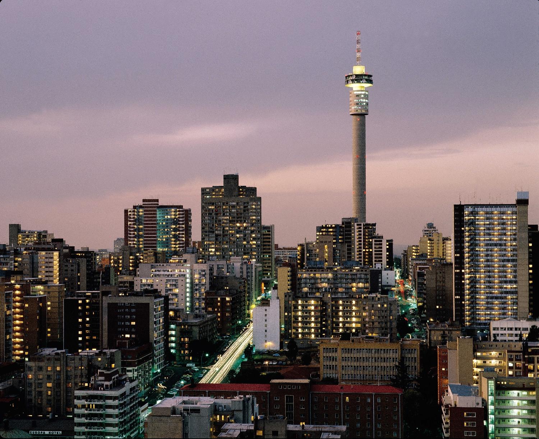Johannesburg, privire asupra orașului la apus