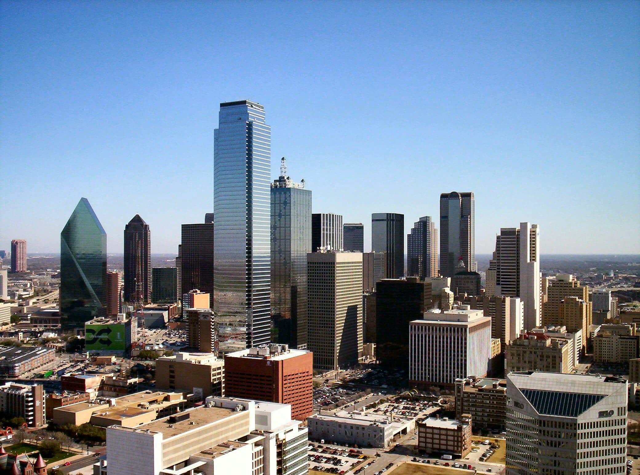 Zgârie nori pe cerul din Dallas, o priveliște care nu s-a schimbat prea mult în decursul anilor