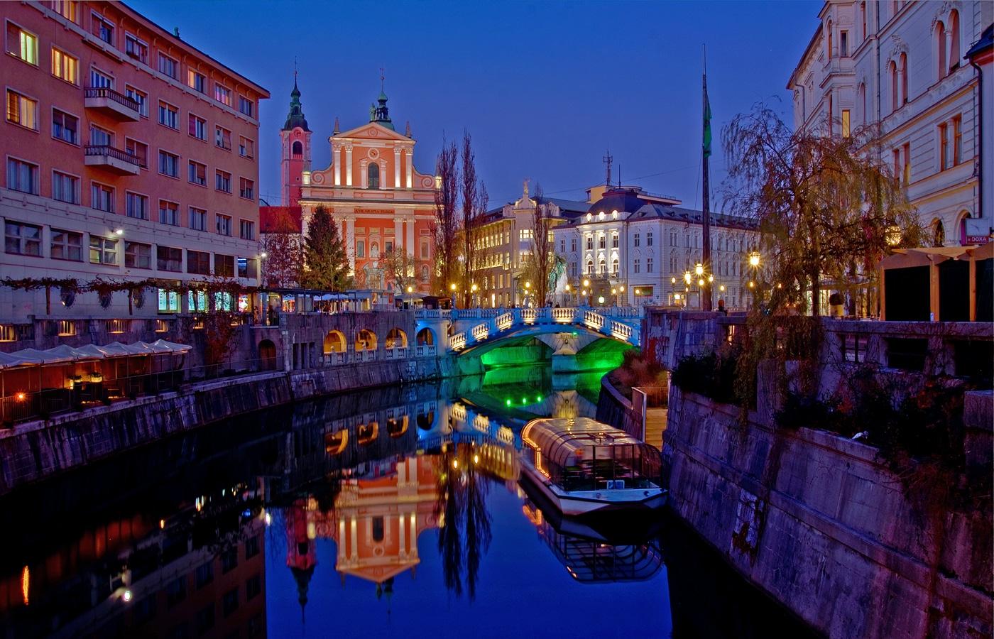 Ljubljana noaptea, un spectacol de lumină