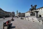 Piața San Carlo, un loc liniștit și plăcut, parcă doar porumbeii mai lipsesc